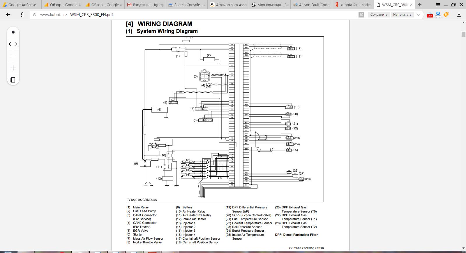 Kubota B7800 Wiring Schematics Data Diagrams Bx1500 Schematic Tractor Manuals Pdf Truck Forklift 665h